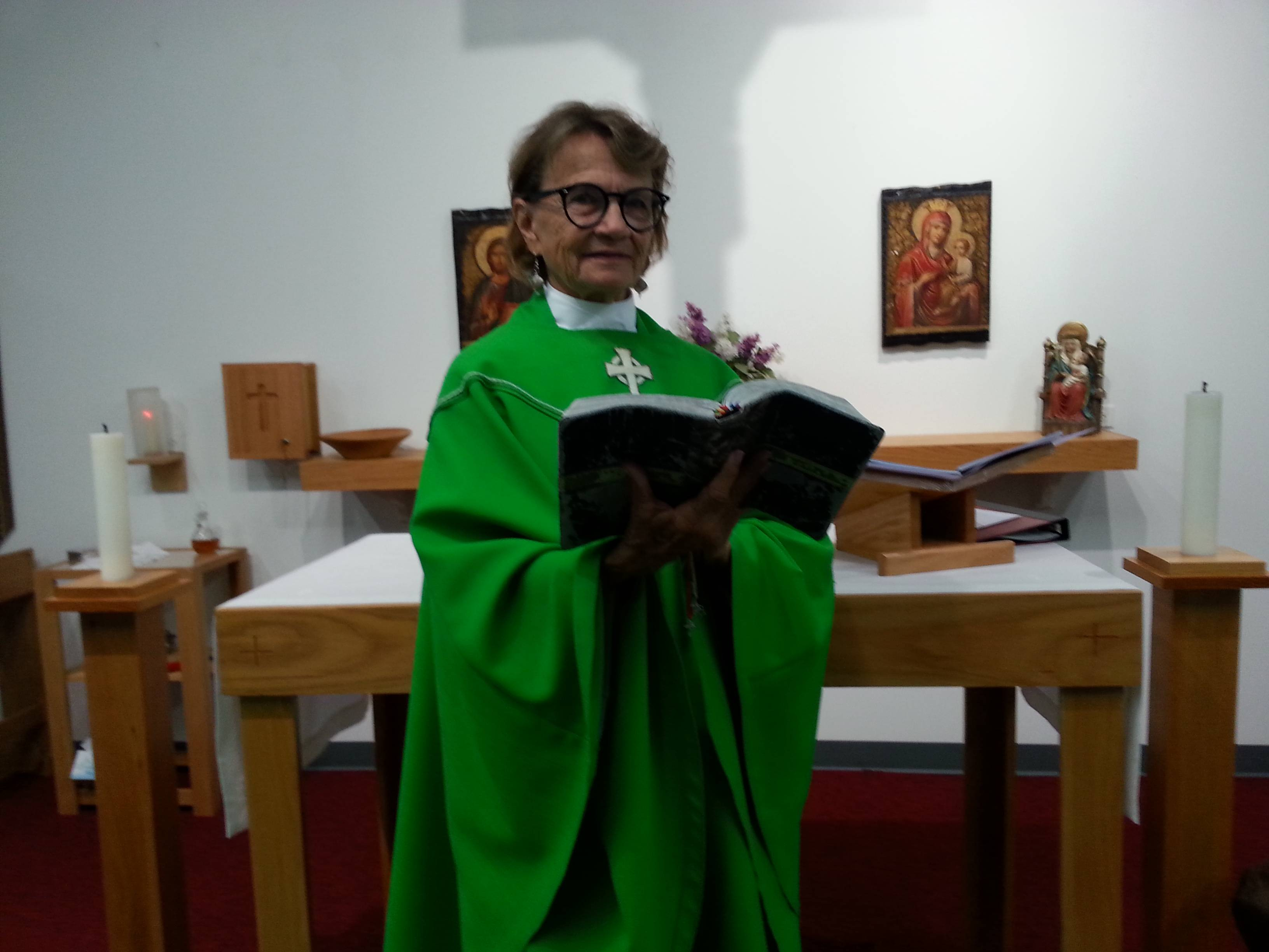 The Rev. Diana M. Gorgos, who has spent 14 years as a missionary minister in Kenya, is the visiting priest for the summer at Holy Cross Anglican Church in Lake Villa.