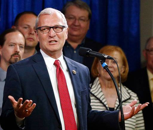 FILE - In this May 26, 2016, file photo, North Dakota state Rep. Kevin Cramer, R-N.D, speaks in Bismarck, N.D. Cramer, a candidate for U.S. Senate, faces Thomas O'Neill, an Air Force veteran who didn't mount a serious campaign, in the Tuesday, June 12, 2018, Republican primary.