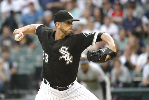 Chicago White Sox starting pitcher James Shields delivers during the first inning of the team's baseball game against the Cleveland Indians on Tuesday, June 12, 2018, in Chicago.