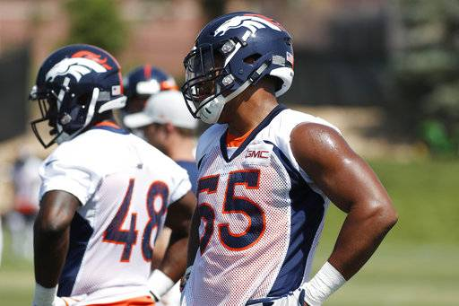 443ea24e8 Denver Broncos linebacker Bradley Chubb takes part in drills during  practice at the NFL football team s