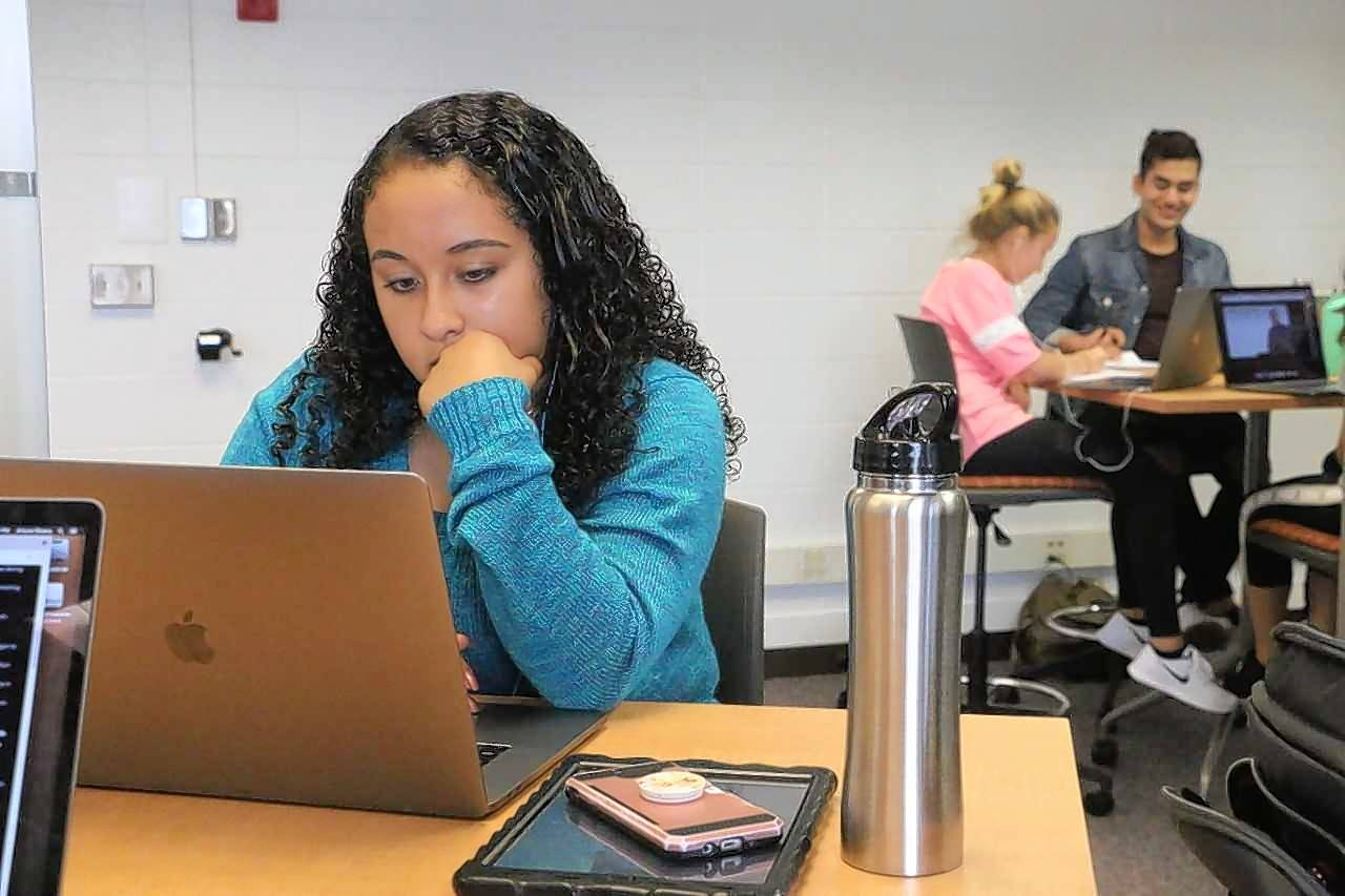 Noemi Ramos works on an assignment in District 214's Early College Center. Eighteen students enrolled in online classes during the 2017-18 school year and collectively earned 208 hours of college credits at Arizona State University.
