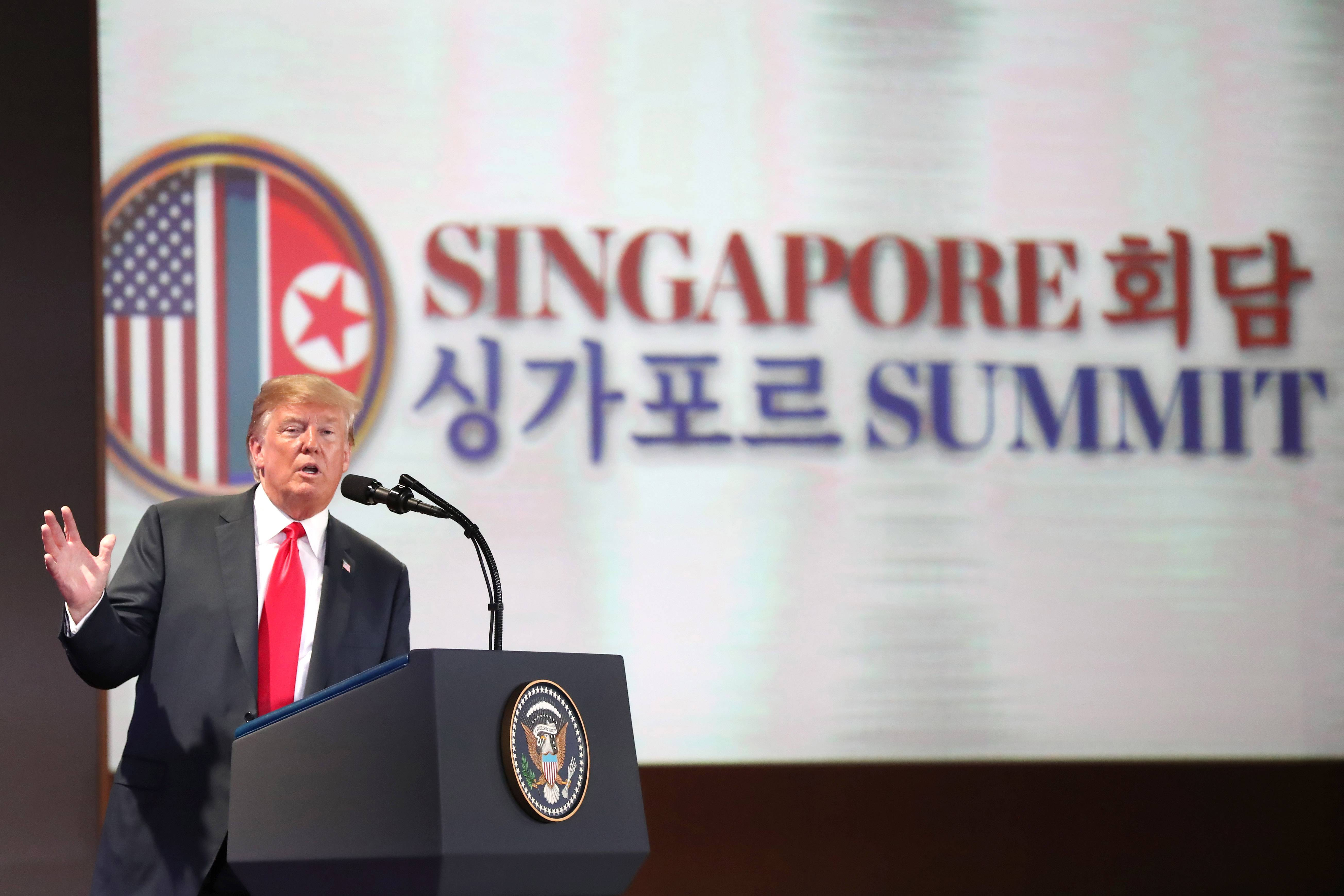 U.S. President Donald Trump speaks during a news conference in Singapore.