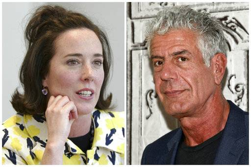 This combination of 2004 and 2016 file photos shows fashion designer Kate Spade and chef Anthony Bourdain in New York. The deaths of Spade and  Bourdain last week are causing some journalists to re-evaluate how suicide is reported, in an attempt to be mindful of the danger of copycats.