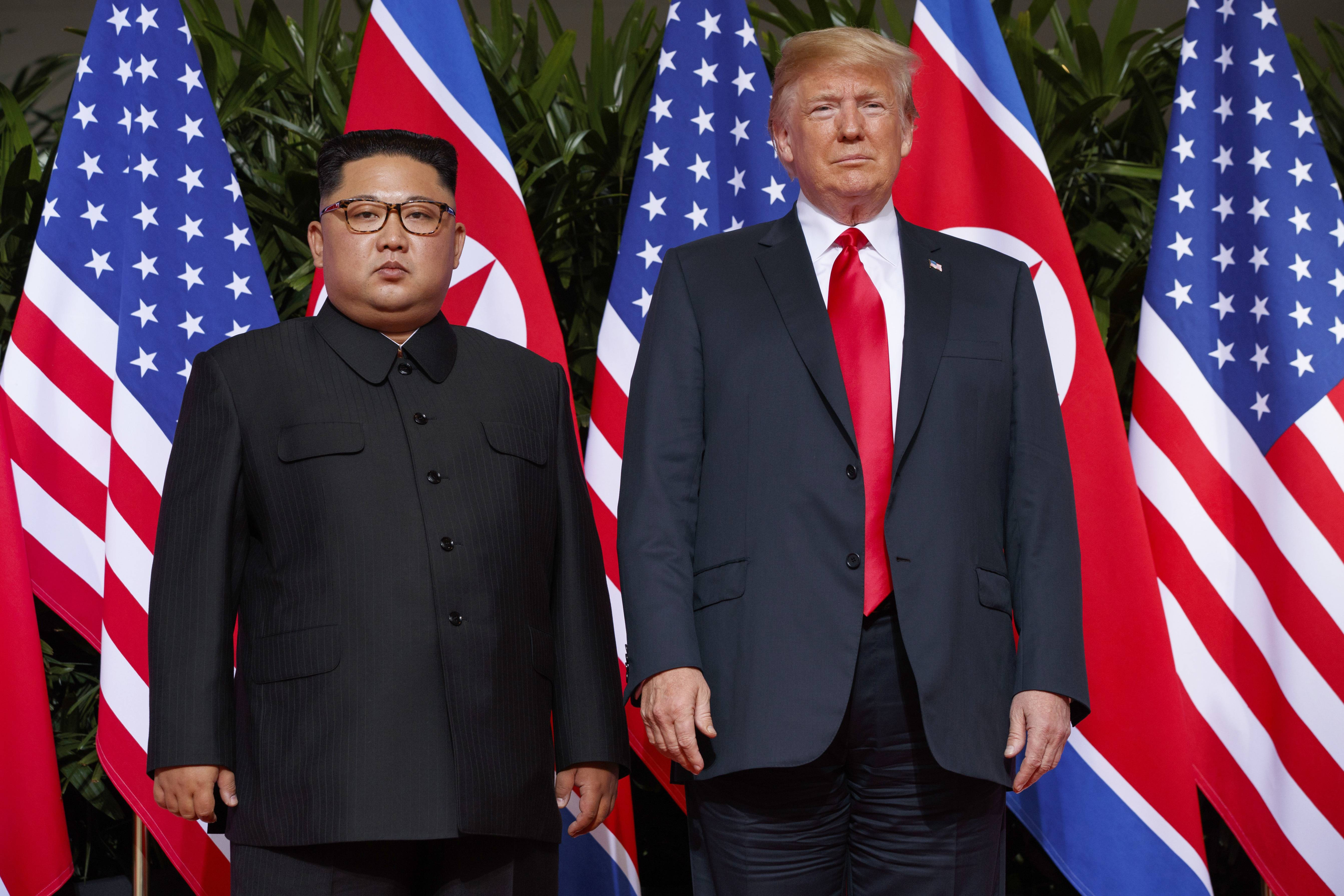 U.S. President Donald Trump meets with North Korean leader Kim Jong Un on Sentosa Island, in Singapore.