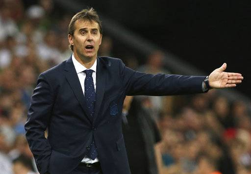 FILE - In this June 9, 2018 file photo, Spain's national soccer team coach Julen Lopetegui shouts during a friendly soccer match between Spain and Tunisia in Krasnodar, Russia. Real Madrid said on Tuesday June 12, 2018 that Spain coach Julen Lopetegui will be the team's manager after the upcoming soccer World Cup.