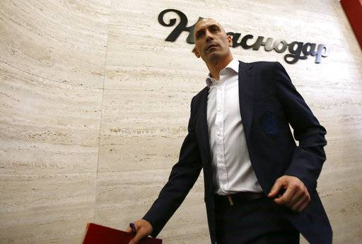 Spanish football president Luis Rubiales leaves a press conference at the 2018 soccer World Cup in Krasnodar, Russia, Wednesday, June 13, 2018. The Spanish soccer federation has fired coach Julen Lopetegui two days before the country's opening World Cup match against Portugal. Lopetegui was let go a day after Real Madrid announced him as its new coach following the World Cup.