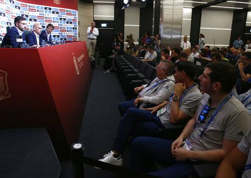 Spanish football president Luis Rubiales, second left, adresses the media during a press conference as Sports director of the Spanish Football Federation Fernando Hierro, second right, attends at the 2018 soccer World Cup in Krasnodar, Russia, Wednesday, June 13, 2018. Fernando Hierro will manage Spain at the 2018 World Cup after Julen Lopetegui was fired.