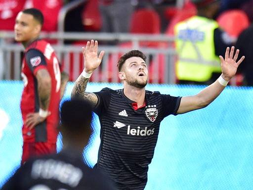 D.C. United forward Paul Arriola celebrates his goal against Toronto FC during the first half of an MLS soccer match Wednesday, June 13, 2018, in Toronto. (Frank Gunn/The Canadian Press via AP)
