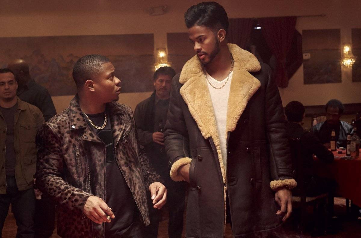 "Youngblood Priest (Trevor Jackson), right, runs a drug business with partner Eddie (Jason Mitchell) but looks to get out in ""Superfly."""