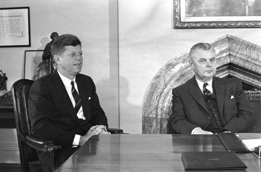 FILE - In this May 17, 1961 file photo, U.S. President John Kennedy and Prime Minister John Diefenbaker meet to begin talks on U.S. and Canadian problems in Ottawa, Canada. In the early 1960s, there was a bitter rift between the two countries because of personal enmity between Kennedy and Diefenbaker, who balked at U.S. pressure to be more aggressive in Cold War maneuverings.