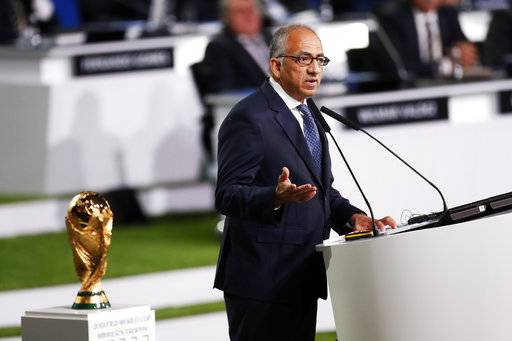 President of U.S. Soccer Carlos Cordeiro presents a joint United bid by Canada, Mexico and the United States to host the 2026 World Cup at the FIFA congress in Moscow, Russia, Wednesday, June 13, 2018.