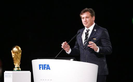 CONMEBOL President Alejandro Dominguez speaks at the FIFA congress on the eve of the opener of the 2018 soccer World Cup in Moscow, Russia, Wednesday, June 13, 2018. The congress in Moscow is set to choose the host or hosts for the 2026 World Cup.