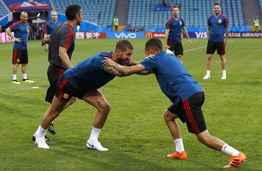 Spain's players take part during Spain's official training on the eve of the group B match between Portugal and Spain at the 2018 soccer World Cup in the Fisht Stadium in Sochi, Russia, Thursday, June 14, 2018.