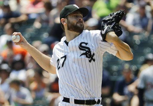 Chicago White Sox starting pitcher Lucas Giolito throws against the Detroit Tigers during the first inning of a baseball game in Chicago, Saturday, June 16, 2018.