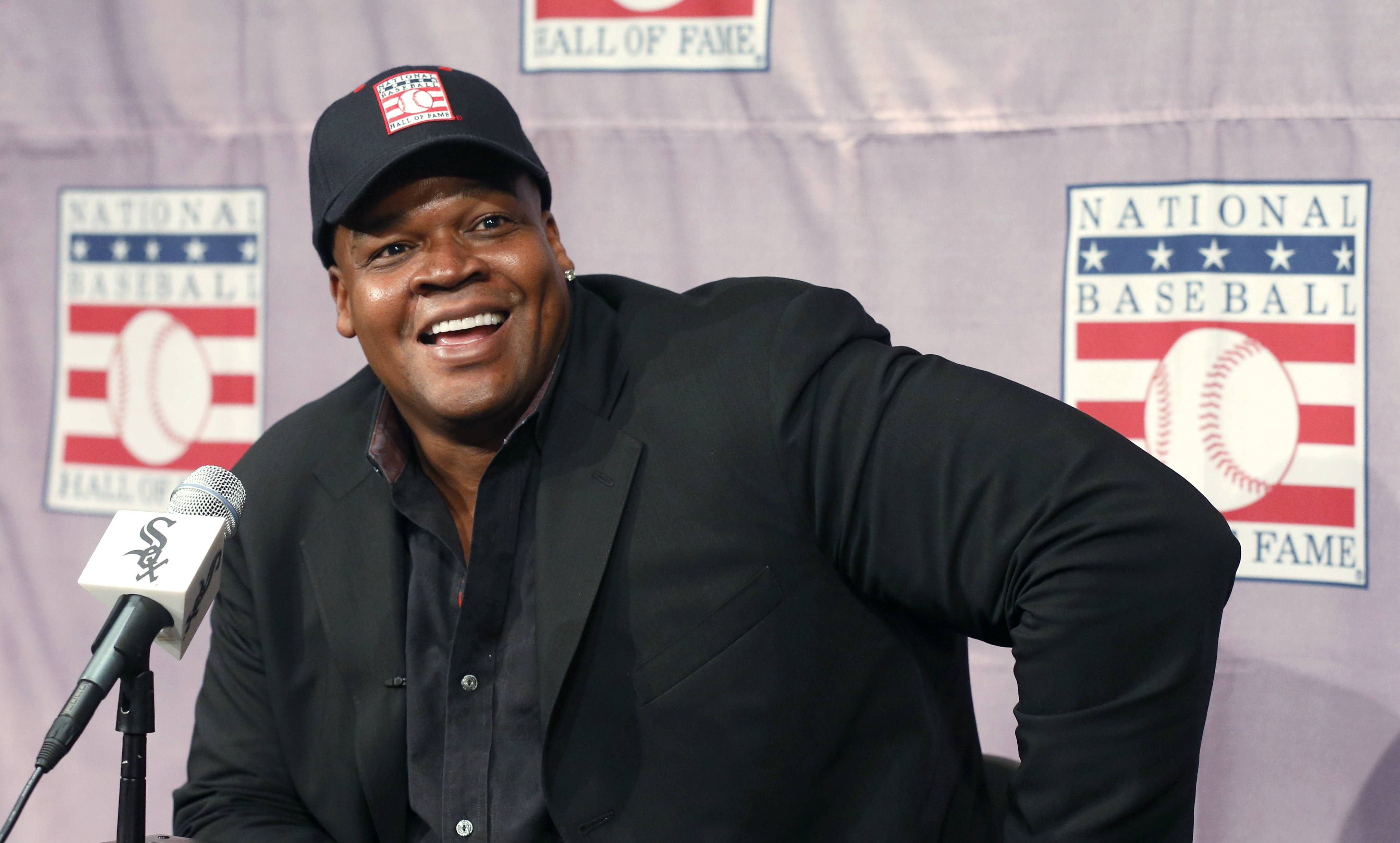 "Associated Press File Photo/Jan. 2014 Hall of Famer Frank Thomas sat in with Ken ""Hawk"" Harrelson for Sunday's game against the Detroit Tigers. The ""Big Hurt"" talked about his relationship with Harrelson and offered his thoughts on the Chicago White Sox's rebuild."