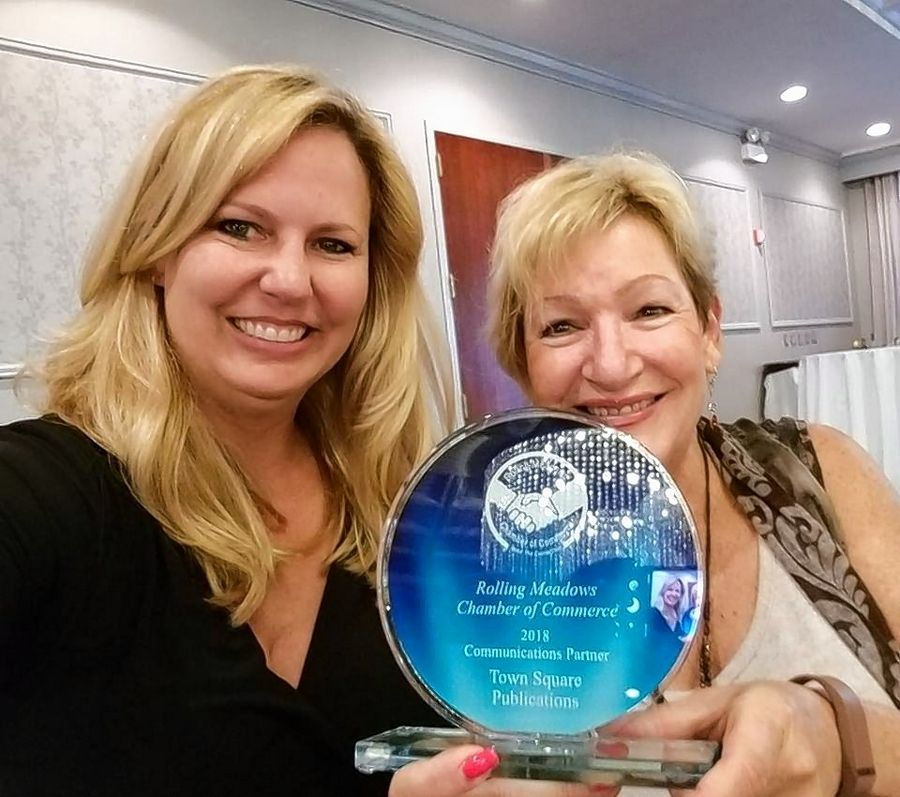 Deborah Nelson and Barbara Jakomin accepted the award for Daily Herald's Town Square Publications honored at the Rolling Meadows Circle of Success Recognition Dinner.