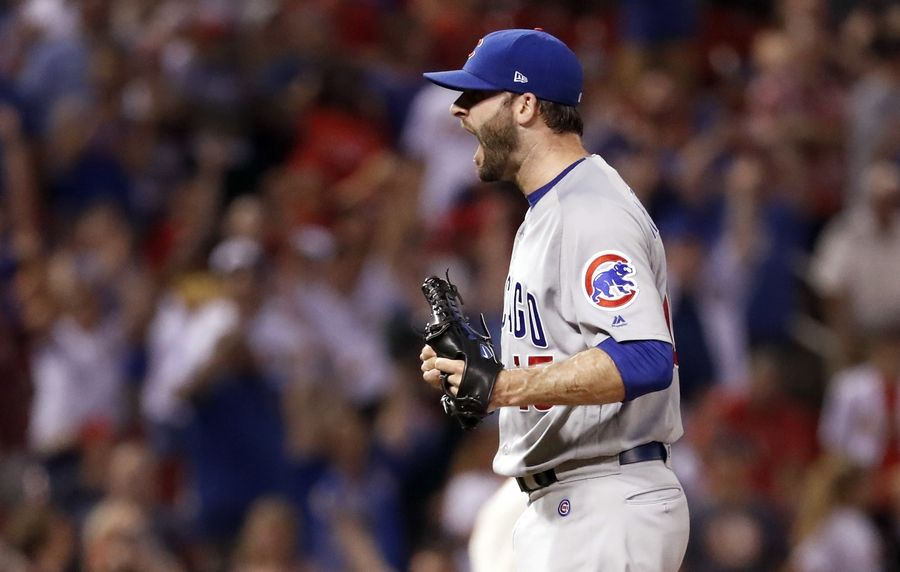 Chicago Cubs relief pitcher Brandon Morrow celebrates after striking out St. Louis Cardinals' Tommy Pham to end a baseball game Saturday, June 16, 2018, in St. Louis. The Cubs won 6-3.