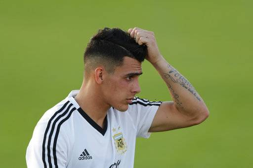 Cristian Pavon during a training session of Argentina at the 2018 soccer World Cup in Bronnitsy, Russia, Monday, June 18, 2018.