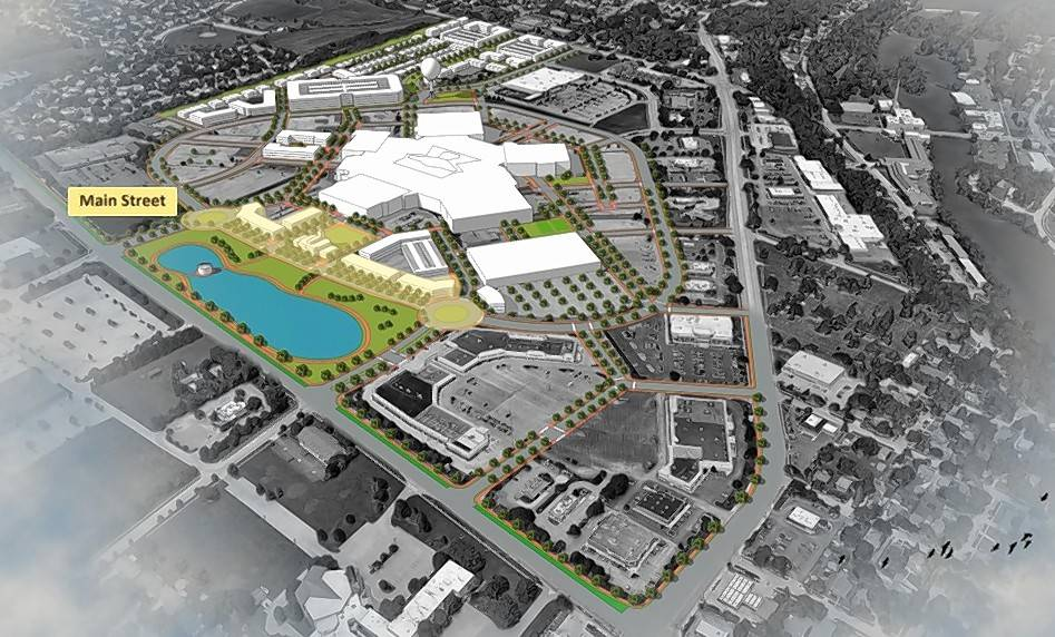 Residential developments, an internal street network and more green space are included in the first phase of an illustrative framework for the Spring Hill Mall campus. The buildings would be designed to reflect the look and feel of a traditional downtown, Community Development Director Tim Scott said.