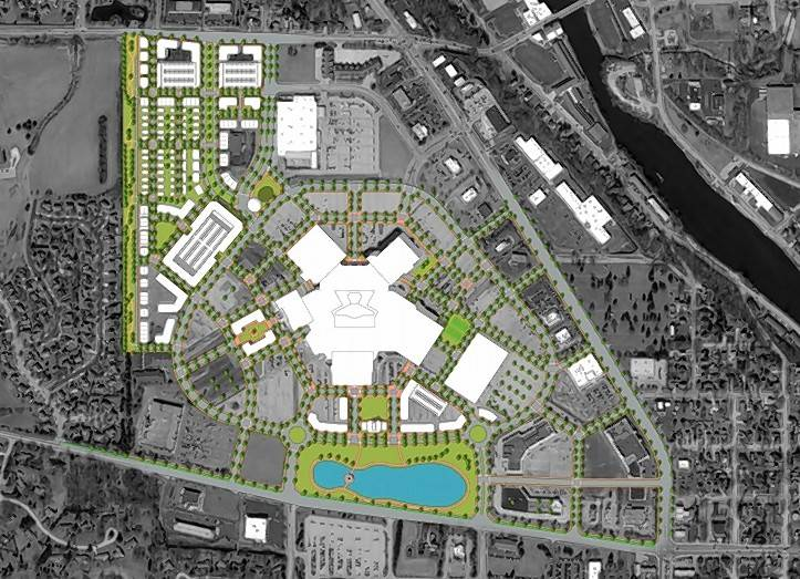 Mixed-use buildings and residential developments are included in the first phase of a potential plan for the Spring Hill Mall campus.
