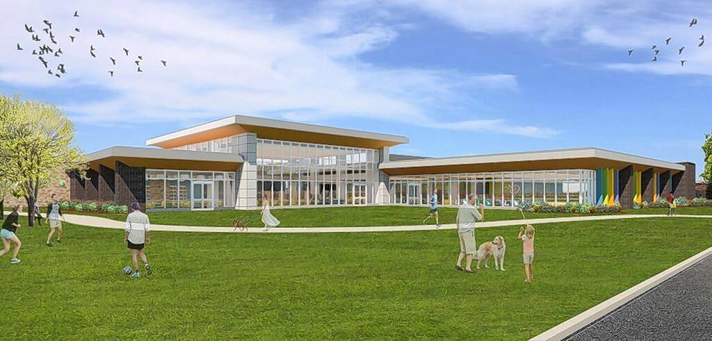 An architect's rendering of the soon-to-be-expanded Aspen Drive Library in Vernon Hills, from the southeast.