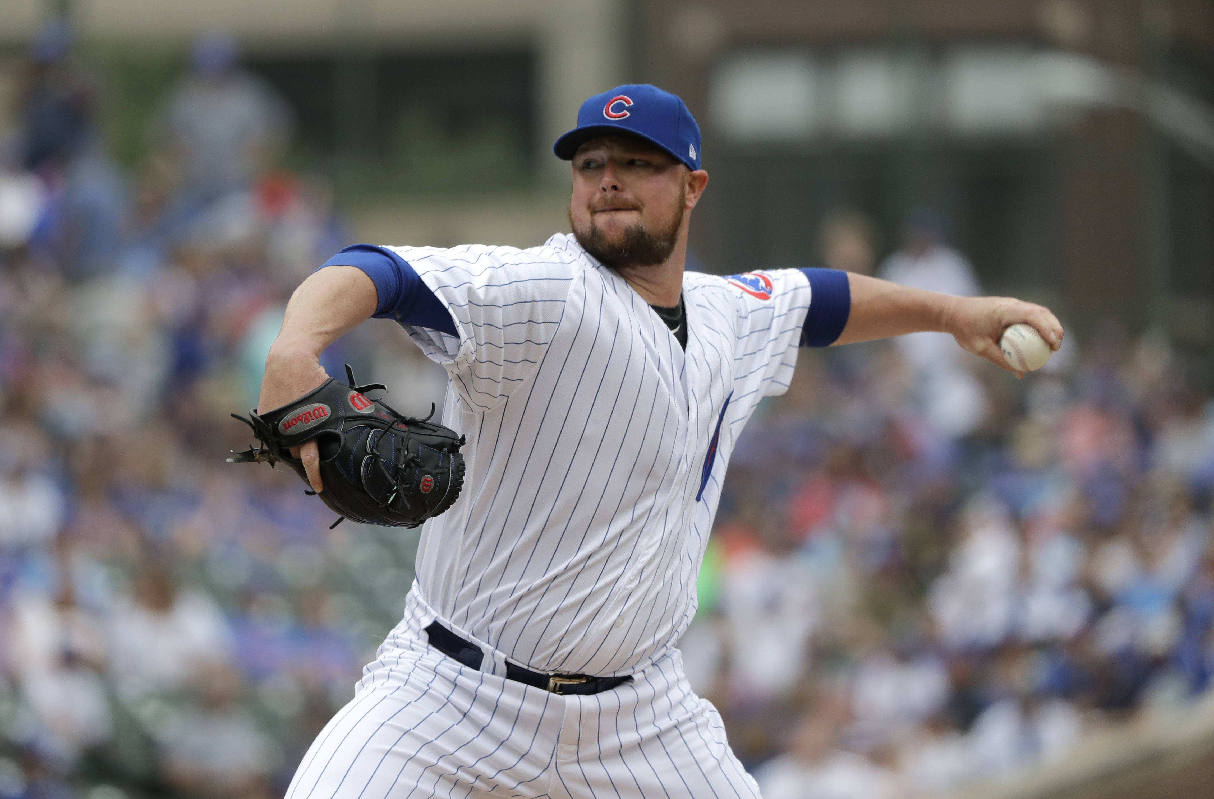 Chicago Cubs starting pitcher Jon Lester tossed 7 shutout innings to help beat the Los Angeles Dodgers on Wednesday at Wrigley Field.