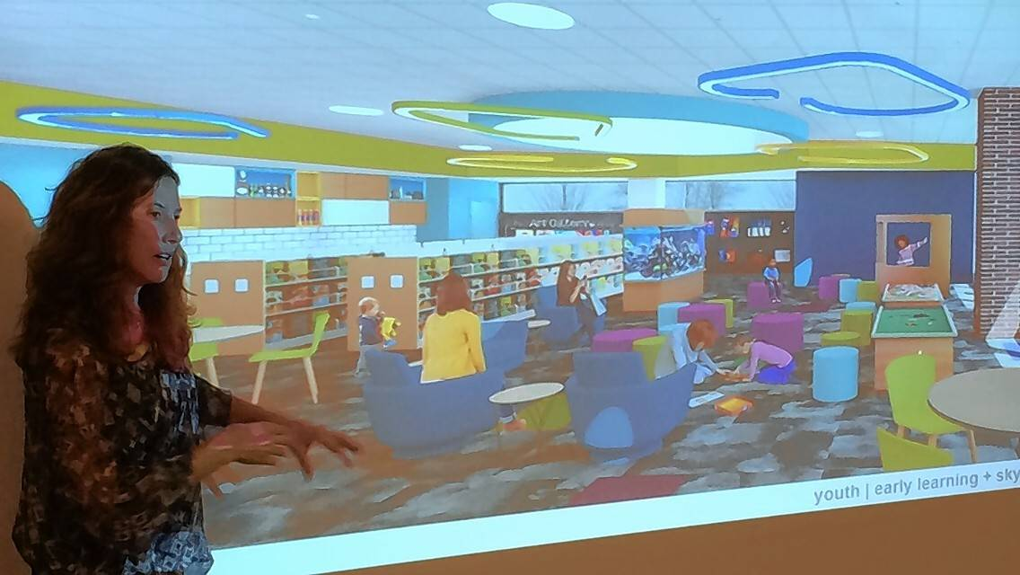 Architect Tiffany Nash talks about the proposed elements of the new children's department at the Aspen Drive Library in Vernon Hills on Tuesday during a Cook Memorial Public Library District board meeting.
