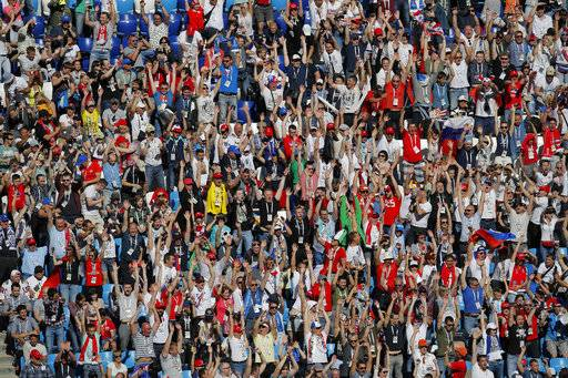 Fans shout during the group E match between Costa Rica and Serbia at the 2018 soccer World Cup in the Samara Arena in Samara, Russia, Sunday, June 17, 2018.