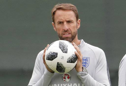 England head coach Gareth Southgate attends official training of his team at the 2018 soccer World Cup in Zelenogorsk near St. Petersburg, Russia, Tuesday, June 19, 2018