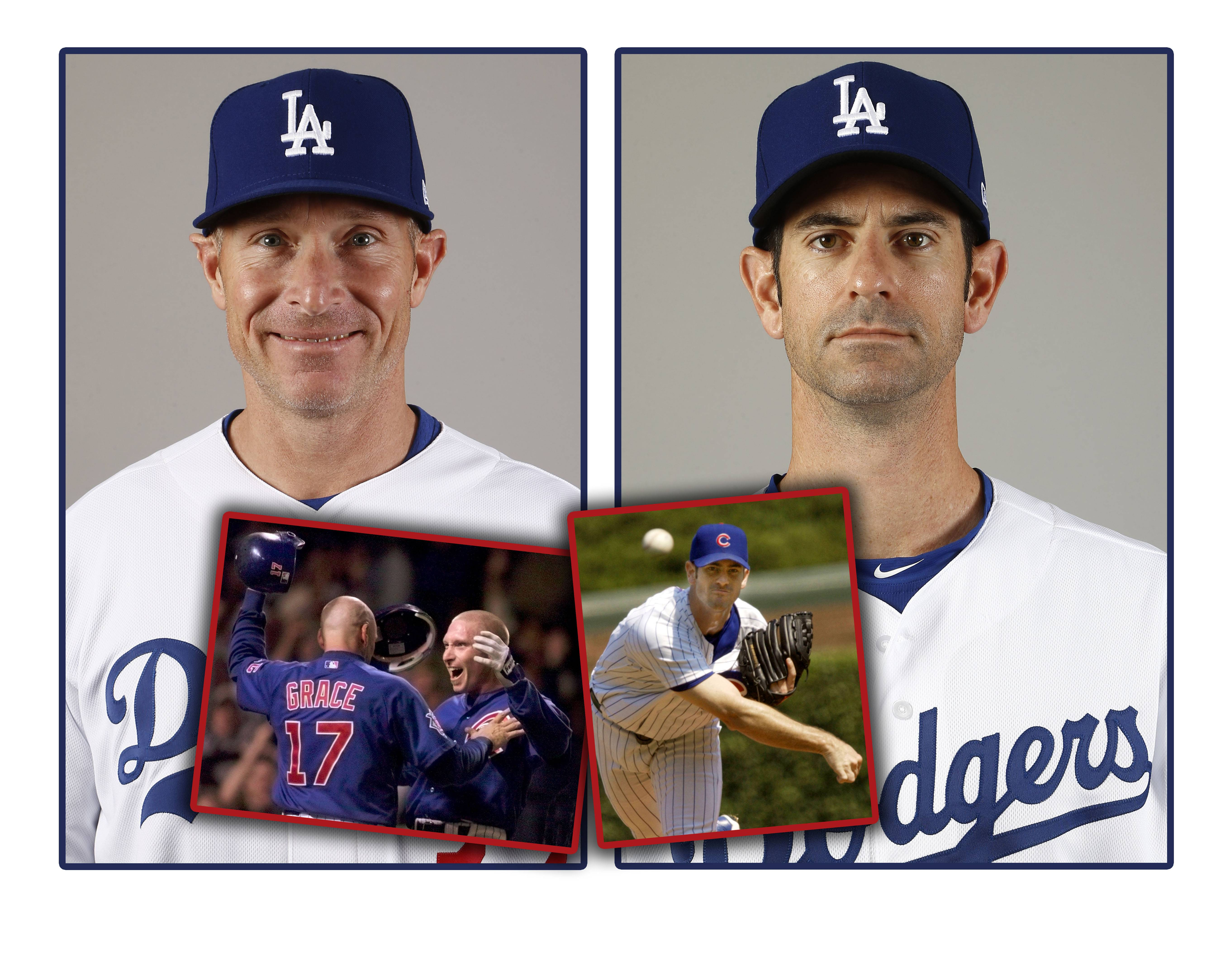 LEFT: Los Angeles Dodgers assistant hitting coach Brant Brown. LEFT INSET: Mark Grace greets Cubs teammate Brant Brown at home plate as Brown scores the winning run after a wild pitch at Wrigley Field. RIGHT: Dodgers bullpen coach Mark Prior. RIGHT INSET: Mark Prior pitches for the Cubs against the Cardinals on Aug. 31, 2002.