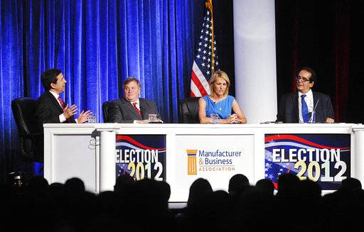FILE - In this June 27, 2012 file photo, from left, moderator Chris Wallace kicks off a discussion with panelists Dick Morris, Laura Ingraham and Charles Krauthammer at the Manufacturer & Business Association's 107th annual event at the Bayfront Convention Center in Erie, Pa. The conservative writer and pundit Krauthammer has died. His death was announced Thursday, June 21, 2018, by two media organizations that employed him, Fox News Channel and The Washington Post. He was 68. (Greg Wohlford/Erie Times-News via AP, File)