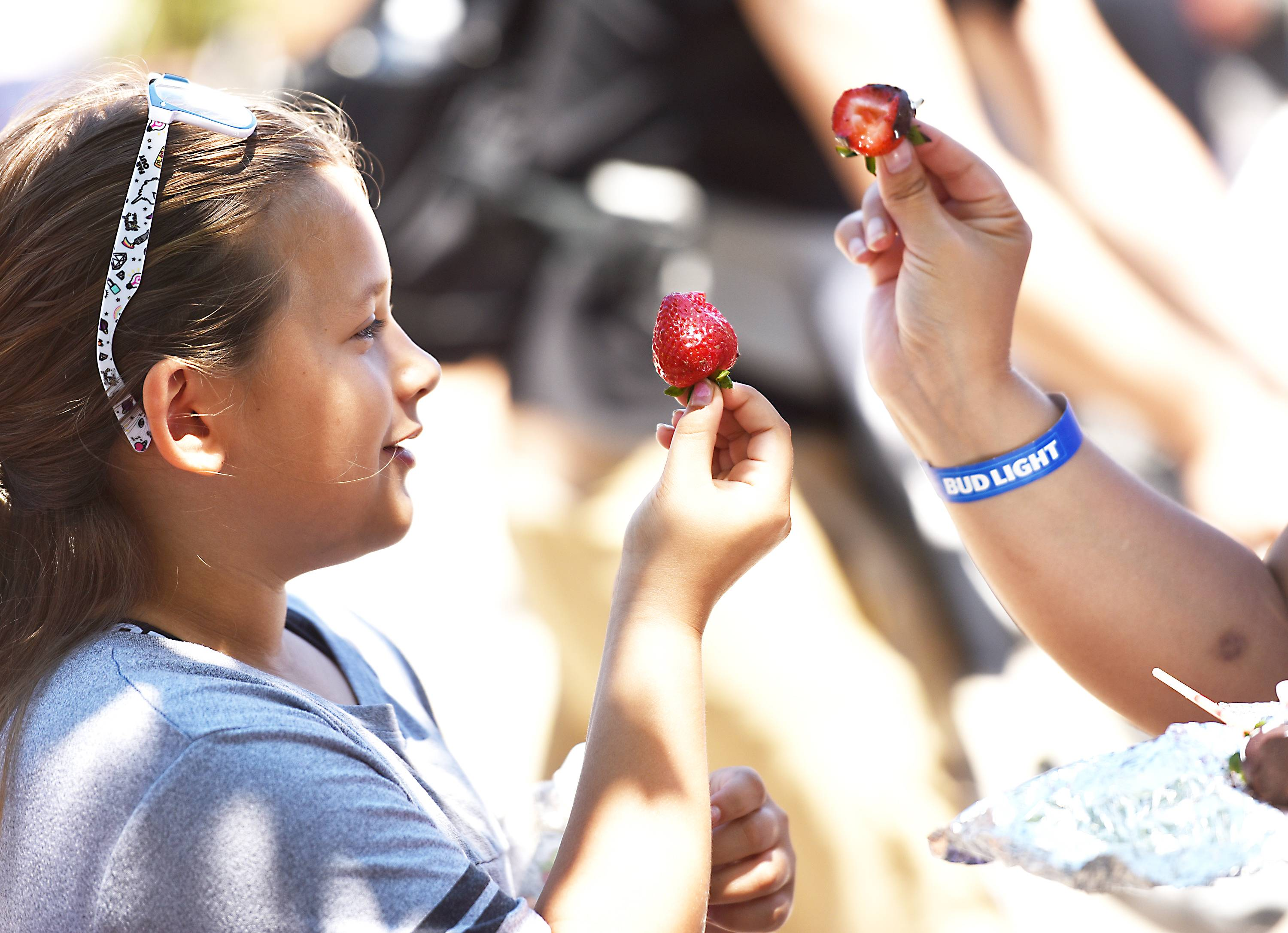 Lana Cummings, 9, and her mom Rebecca, of Warrenville, compare strawberries at the Long Grove Strawberry Fest Saturday.