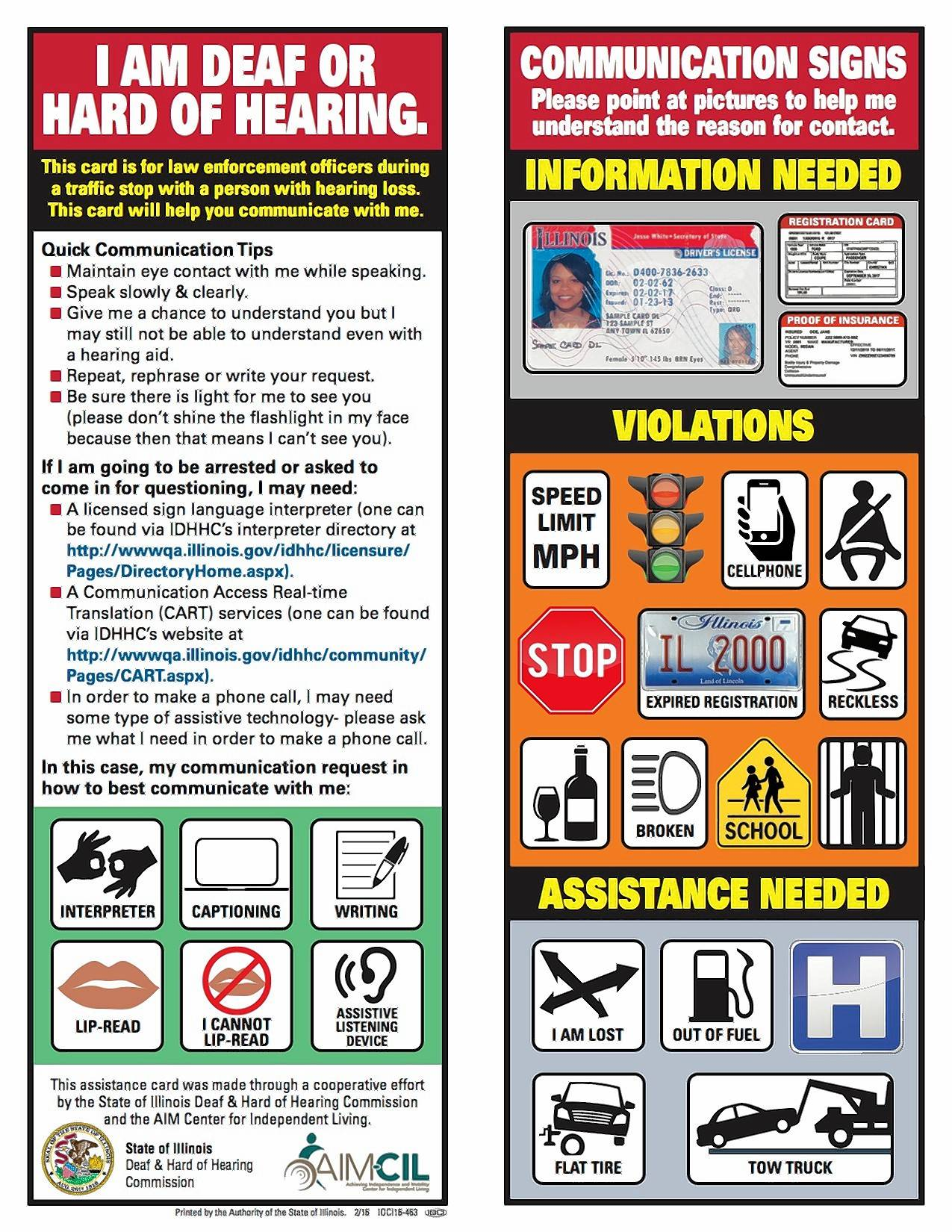 These visor cards developed by the Achieving Independence and Mobility Center for Independent Living are part of a Buffalo Grove Police effort to improve communication with hearing-impaired drivers.