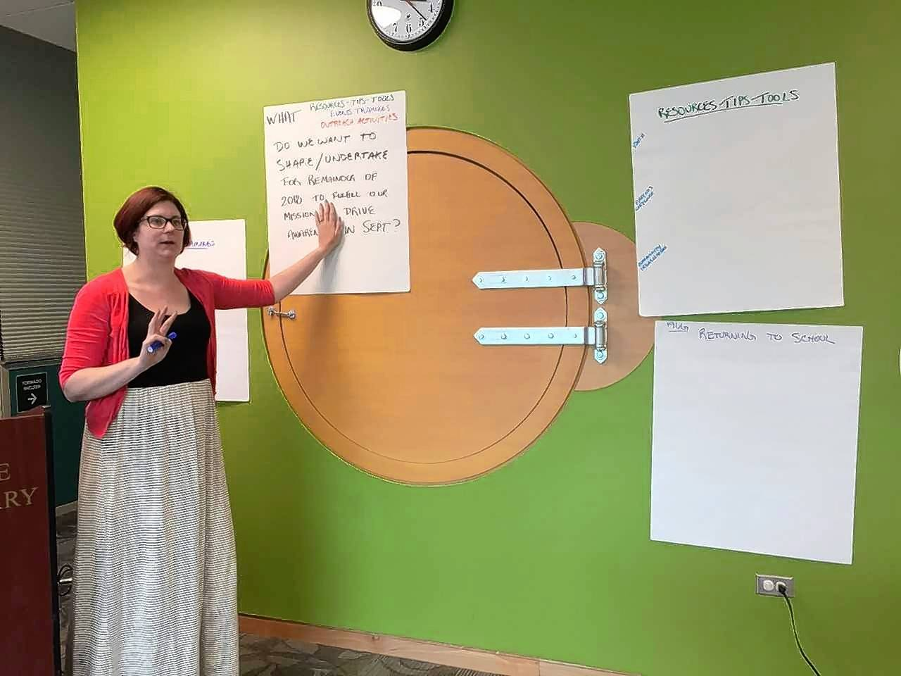 Lisle Township Supervisor Mary Jo Mullen leads a strategic planning session among members of the Youth in Crisis Coalition, which gathers mental health-focused professionals each month from Lisle, Downers Grove and Naperville townships.