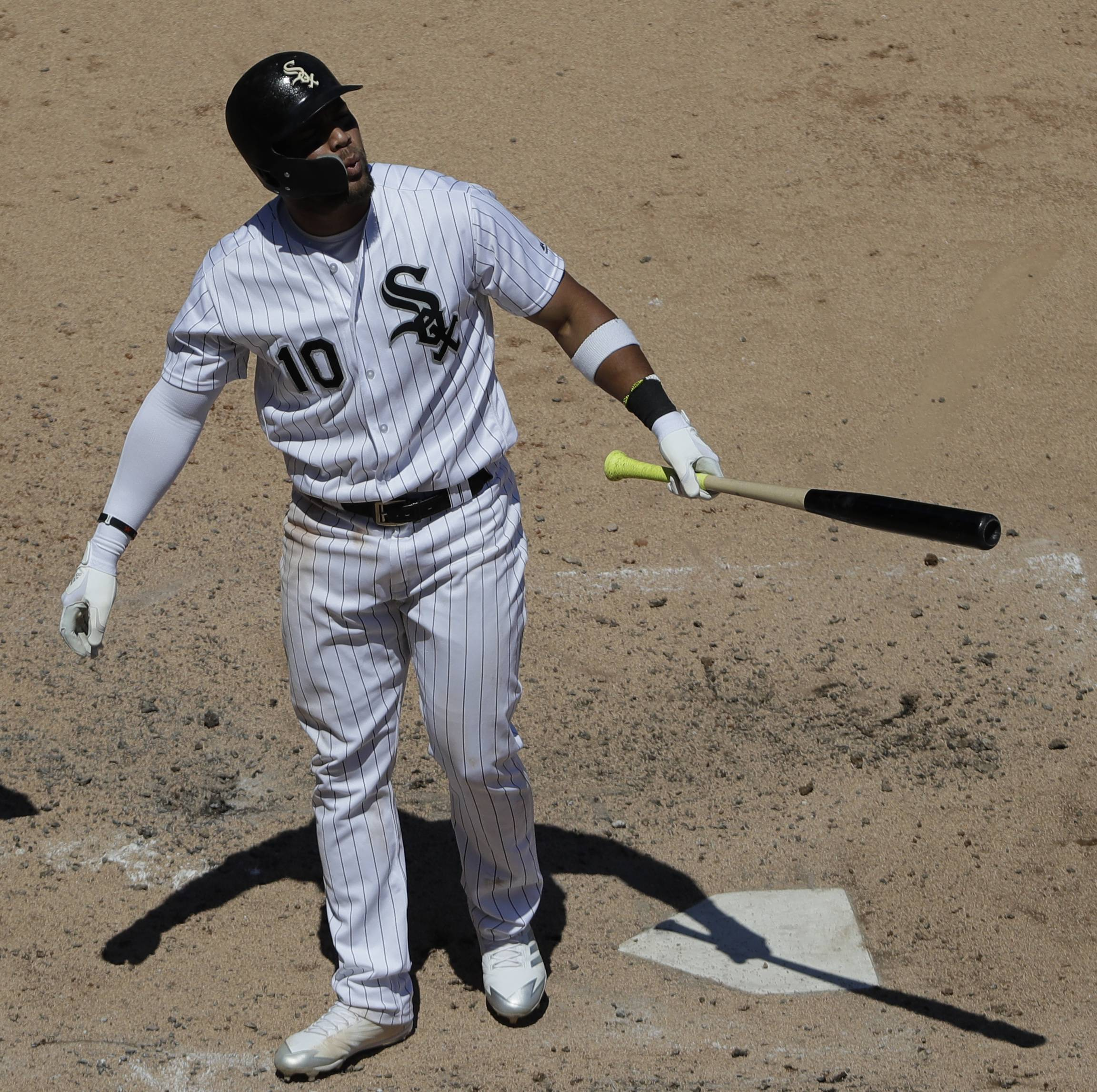 Chicago White Sox's Yoan Moncada reacts after being called out on strikes during the fourth inning of a baseball game against the Oakland Athletics, Saturday, June 23, 2018, in Chicago. (AP Photo/Nam Y. Huh)