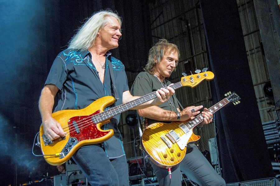 Dave Amato and Bruce Hall of REO Speedwagon, which shares a concert bill with the band Chicago at the Allstate Arena in Rosemont on Sunday, June 24.