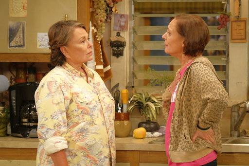 "Roseanne Barr, left, and Laurie Metcalf in ""Roseanne."" ABC, which canceled its ""Roseanne"" revival over its star's racist tweet, said it will air a Conner family sitcom minus Roseanne Barr this fall."