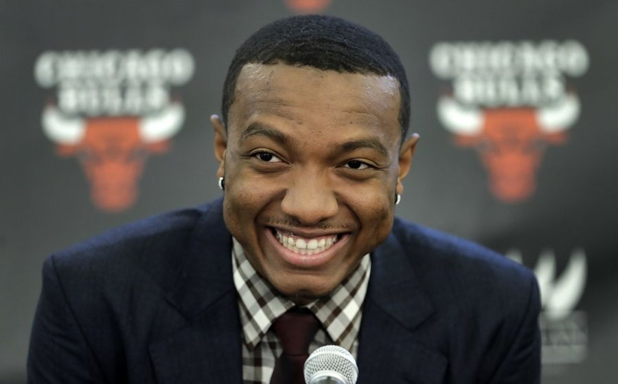 The Chicago Bulls first-round draft pick Wendell Carter Jr. smiles during an introductory news conference Monday in Chicago.