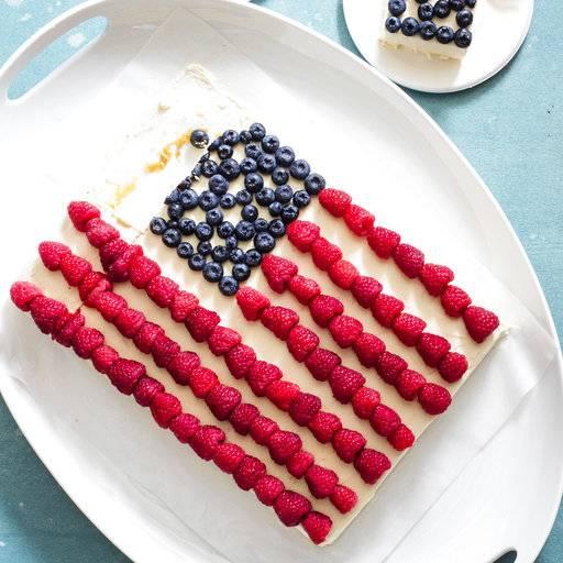 A simple American buttercream improves a flag sheet cake