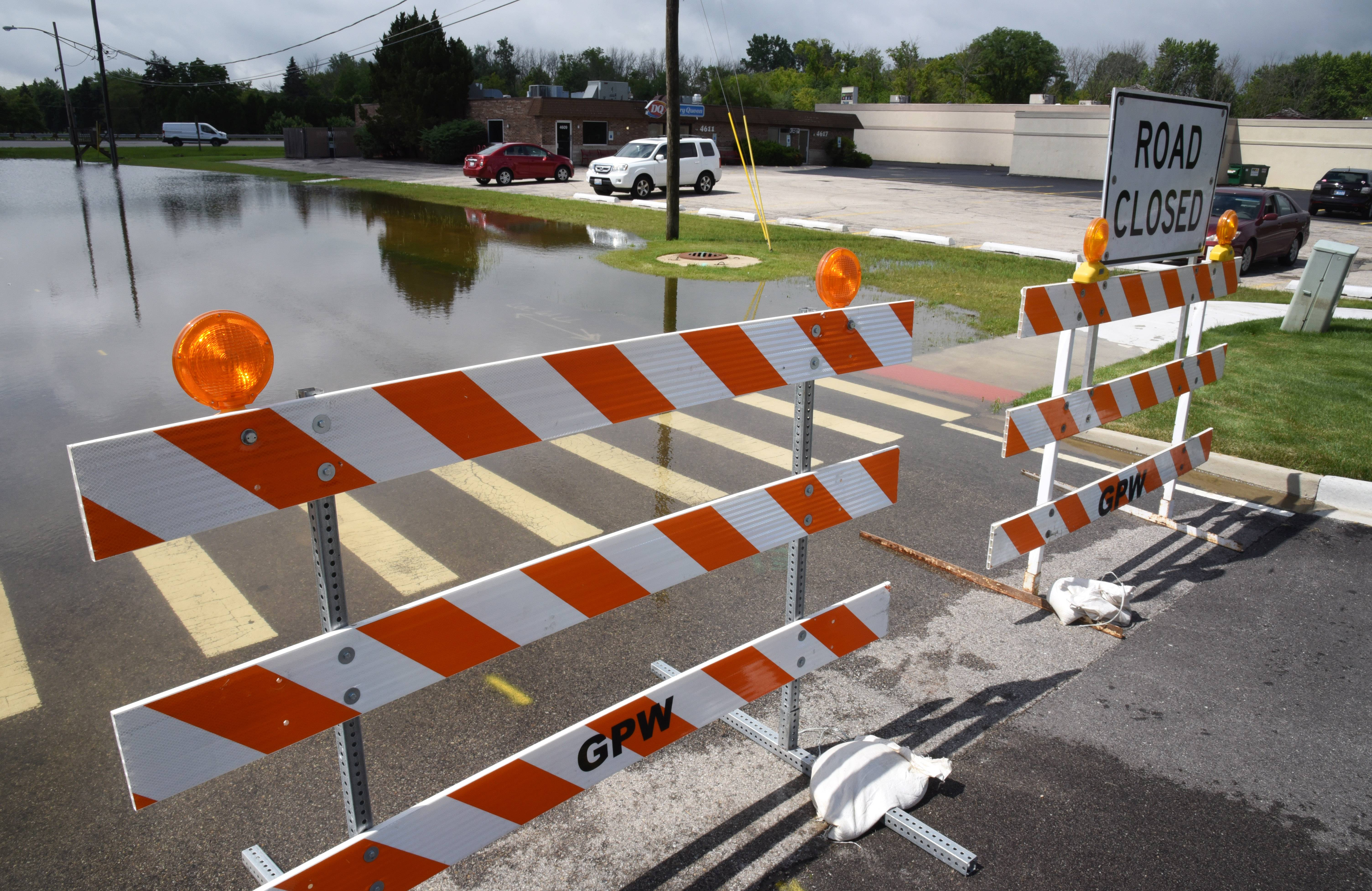 Anderson Lane at Old Grand Avenue in Gurnee is closed Wednesday morning due to the rising Des Plaines River.