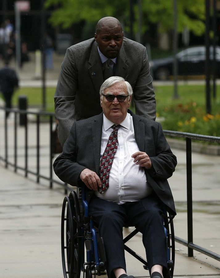 Donnie Rudd arrives Tuesday at the Third Municipal District Courthouse in Rolling Meadows where he is on trial on charges of murder in the 1973 death of his wife, Noreen Kumeta.