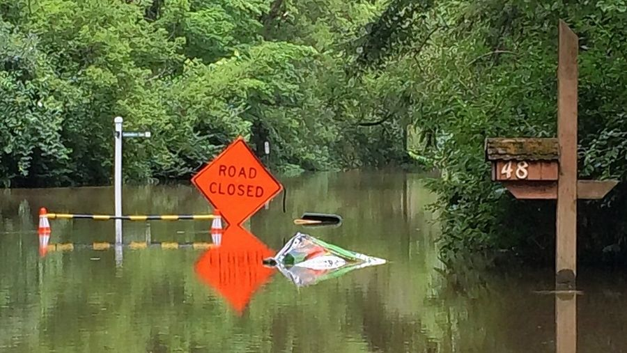 Part of Lincolnshire Drive was under several feet of water after heavy rains caused the nearby Des Plaines River to flood in July 2017. Village officials are concerned a plan to waive environmental restrictions for a factory in Wisconsin could worsen flooding here.