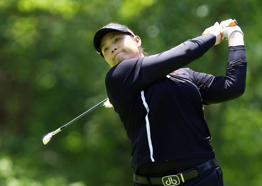 Ariya Jutanugarn, of Thailand, tees off on the second hole during the final round of the U.S. Women's Open golf tournament at Shoal Creek, Sunday, June 3, 2018, in Birmingham, Ala.