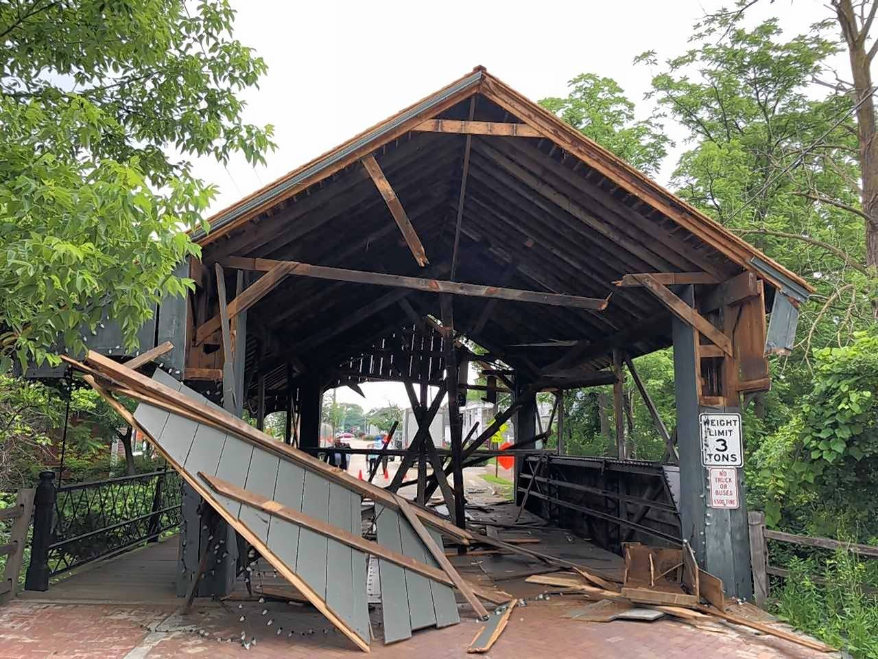 Truck damages historic Long Grove bridge