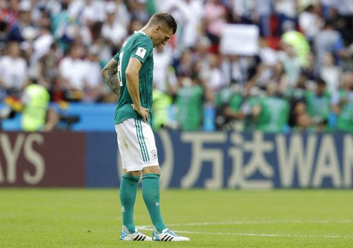 Germany's Toni Kroos looks dejected after Germany was eliminated during the group F match between South Korea and Germany, at the 2018 soccer World Cup in the Kazan Arena in Kazan, Russia, Wednesday, June 27, 2018.