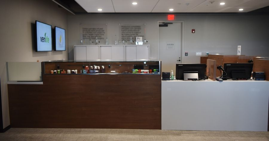 The new Verilife medical marijuana dispensary in Arlington Heights has its sales area behind sliding glass doors but is visible to the public lobby -- the first in Illinois with such an arrangement, company officials said. The store offers a variety of products for sale, from the smokable to the edible, and from pills to patches.