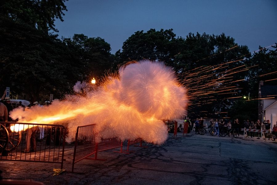 Cannons fire during performance of '1812 Overture' in Naperville