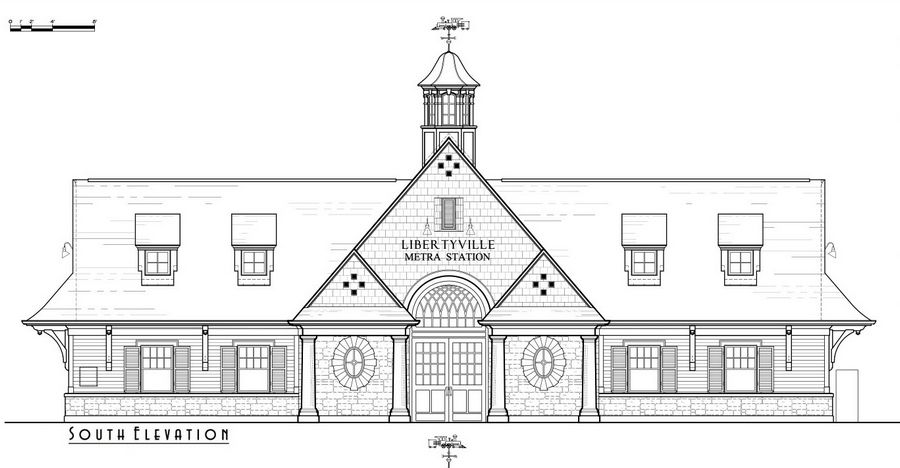 The south elevation rendering of a proposed Metra station in downtown Libertyville.