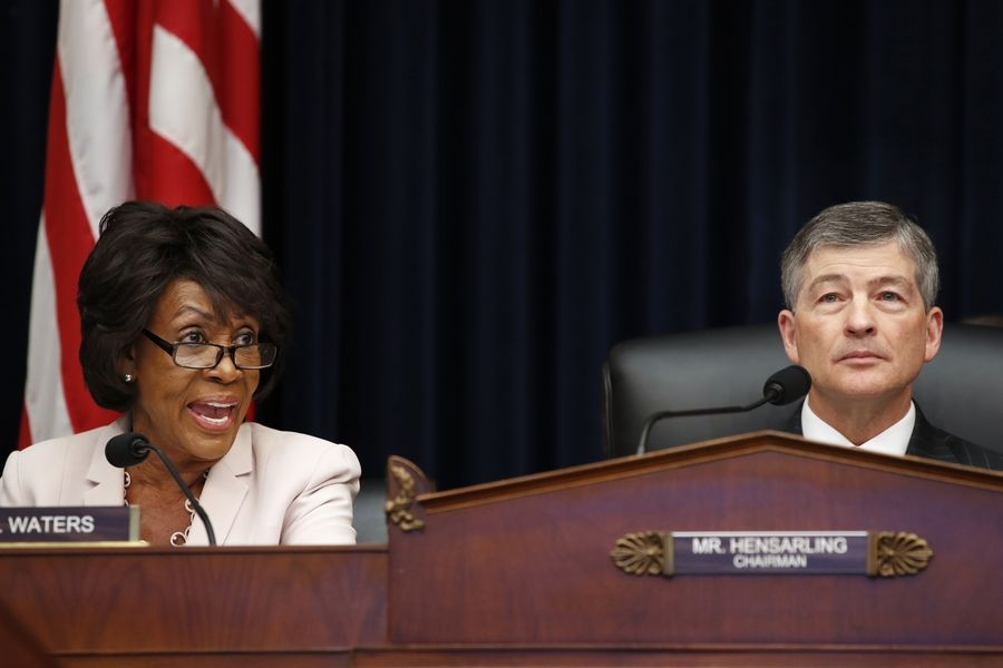U.S. Rep. Maxine Waters, left, responds to comments about civility by House Financial Services Committee Chair Rep. Jeb Hensarling during a hearing in Washington last week.