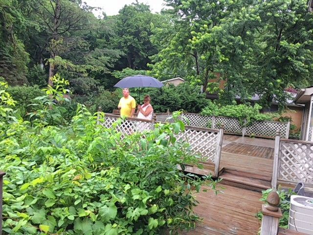 Jill and Don Gross look over their backyard, which will undergo a transformation this summer because they won the Get Your Summer On backyard makeover contest.